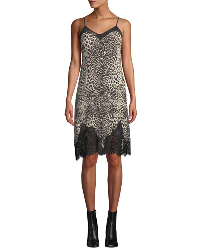 Lace Panel Animal-Print Slip Dress