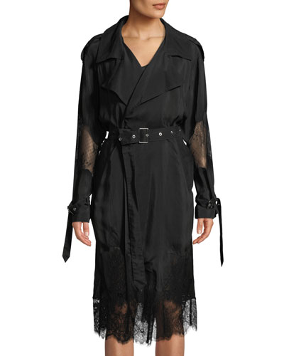 Lace Eat In Hand-Cut Trench Coat