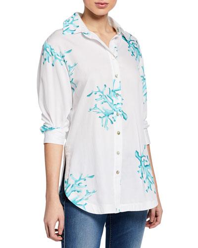 Plus Size Coral Reef Button-Down Cotton Shirt