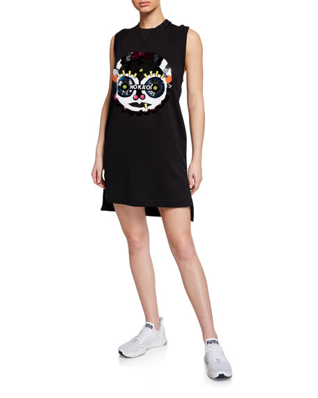 No Ka'oi PRESENCE 2 SEQUINED GRAPHIC SLEEVELESS SHORT DRESS