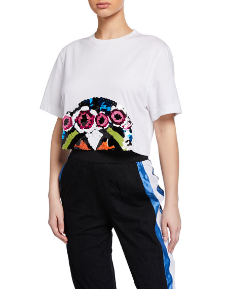 No Ka'oi PRESENCE 2 CROPPED SEQUINED CREWNECK TEE