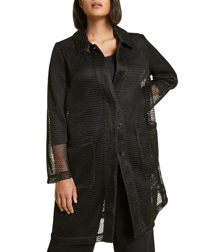 Button-Front Oversized Mesh Tennis Jacket  Plus Size