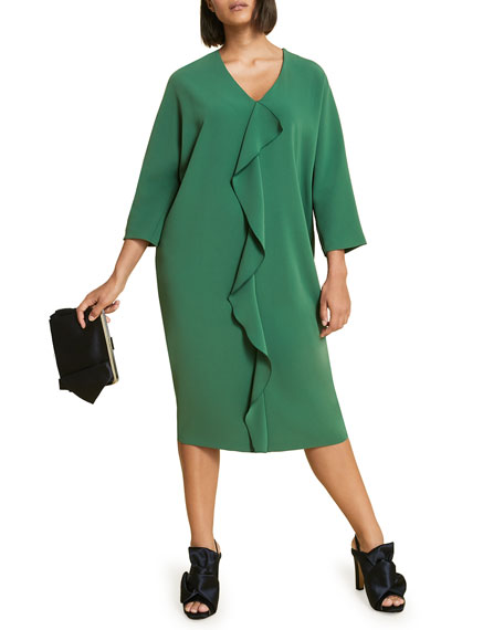Plus Size Debutto V-Neck 3/4-Sleeve Frill Dress