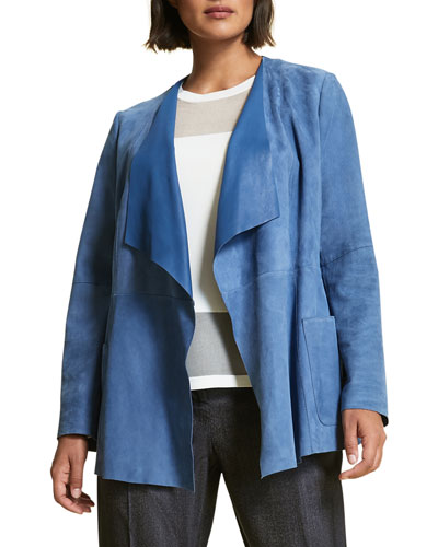 Etere Open-Front Waterfall Suede Jacket  Plus Size