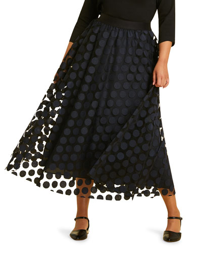 Chance Embroidered Polka-Dot Full Tulle Skirt  Plus Size