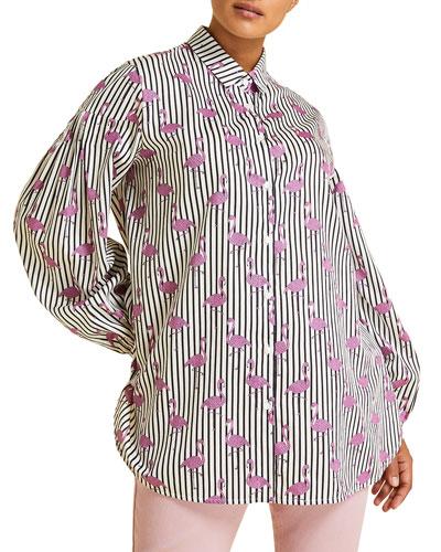 Felicita Flamingo-Print Shirt  Plus Size