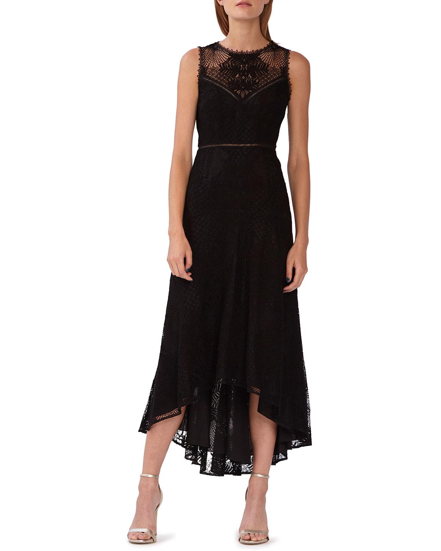 ML Monique LhuillierCrewneck Sleeveless High-Low Lace Cocktail Dress 3d07d4202