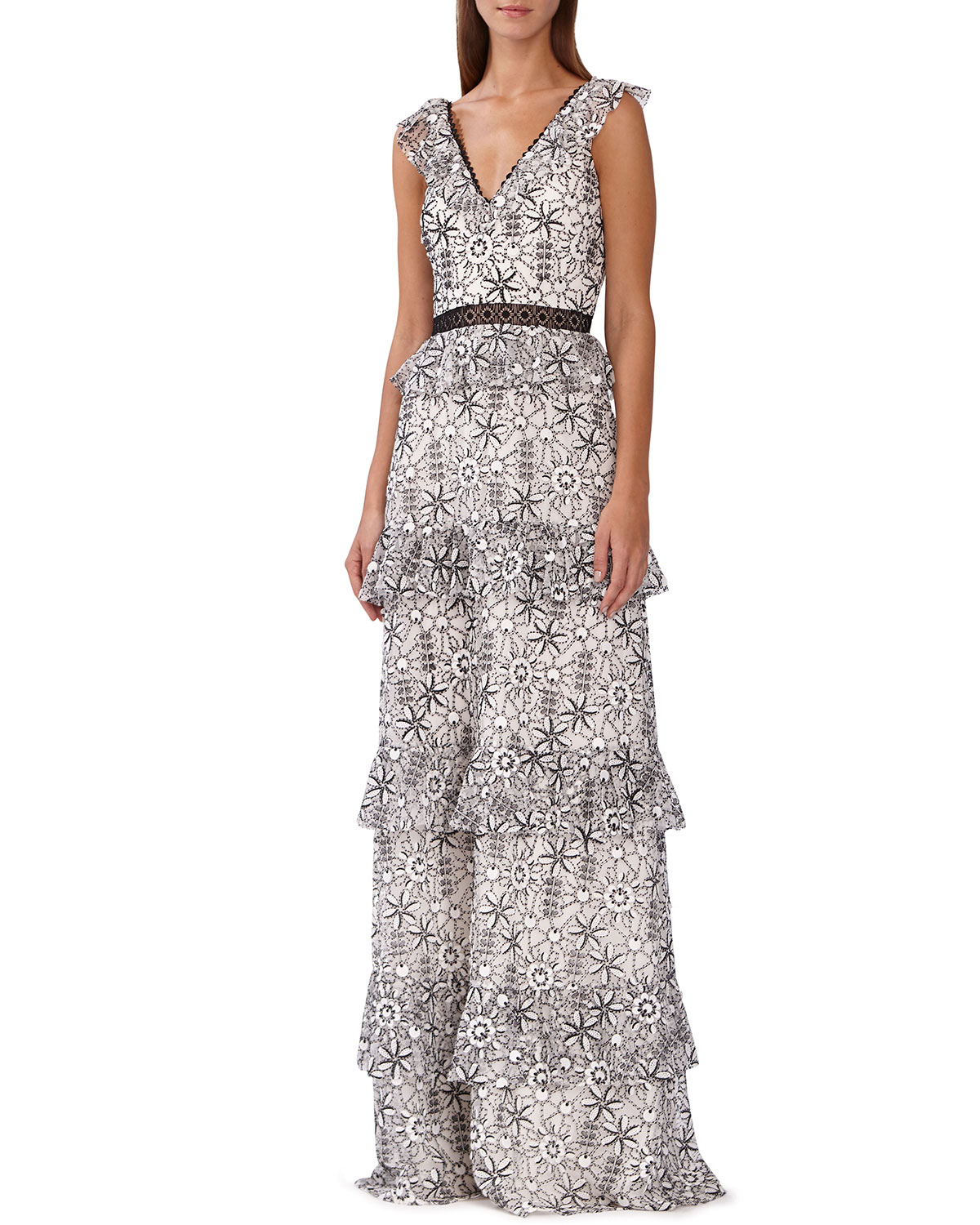 ML Monique Lhuillier Floral-Print Tiered Maxi Dress ...
