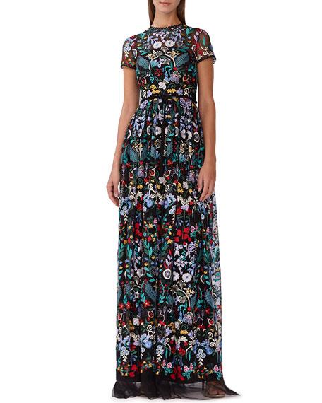 Ml Monique Lhuillier Dresses FLORAL-EMBROIDERED MESH MAXI DRESS