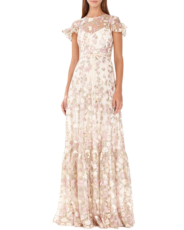 ML Monique Lhuillier Floral-Embroidered Short-Sleeve Mesh Dress