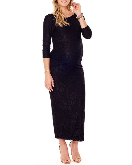 Ingrid & Isabel MATERNITY STRETCH-LACE BOAT-NECK 3/4-SLEEVE COLUMN DRESS
