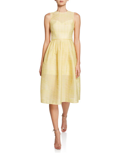 High-Neck Sleeveless Striped Organza Fit-and-Flare Dress