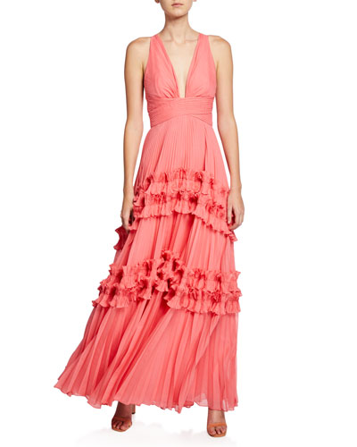 V-Neck Sleeveless Pleated Gown with Smocked Ruffle Trim