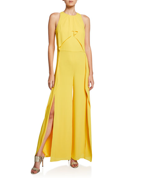 Halston Heritage Suits SLEEVELESS HIGH-NECK FLOWY DRAPE FRONT WIDE-LEG JUMPSUIT