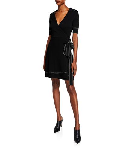 Liv Short-Sleeve Wrap Dress w/ Topstitching