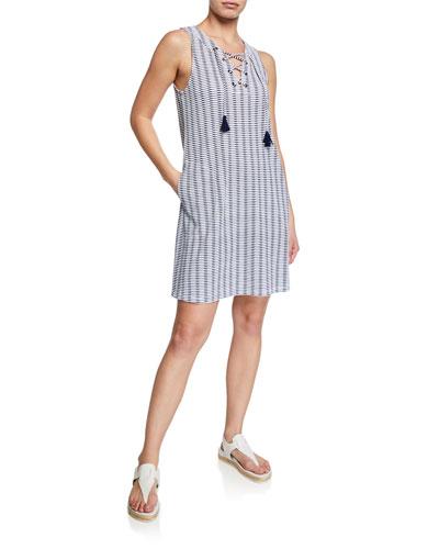Island Cay Spa Lace-Up Tassel Pattern Dress