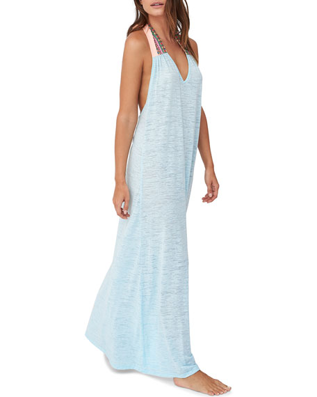 Pitusa Llama Embroidered Halter Maxi Dress