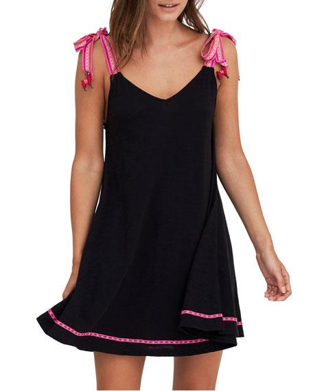 Pitusa Llama Shoulder-Tie Embroidered Coverup Dress