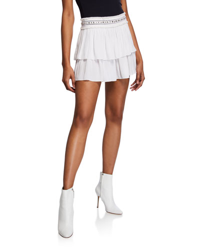 Maeve Stud-Embellished Tiered Mini Skirt
