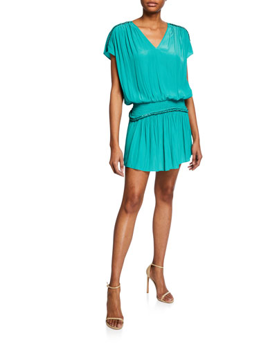 Jonni V-Neck Short-Sleeve Blouson Mini Dress