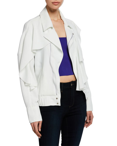 Elliot Zip-Front Cropped Jacket w/ Ruffle Trim
