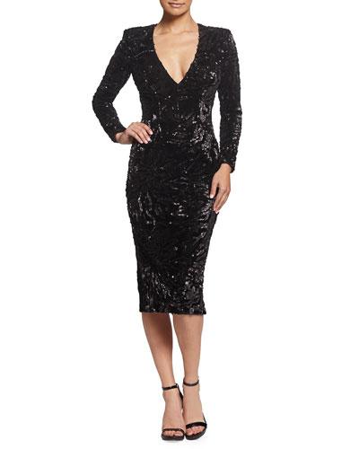 Elizabeth Sequin V-Neck Long-Sleeve Cocktail Dress