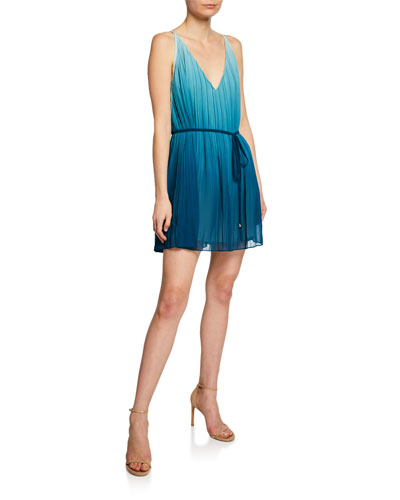 Sofie V-Neck Sleeveless Pleated Ombre Mini Dress