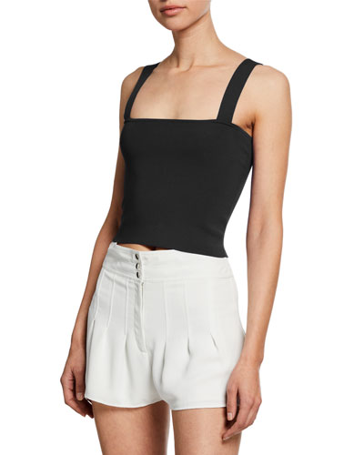 Fallon Sleeveless Square-Neck Top