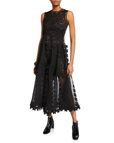 Sleeveless Double-Layered Cascade Dress