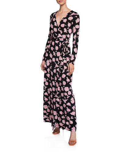 New Julian Long Floral-Print Long-Sleeve Wrap Dress