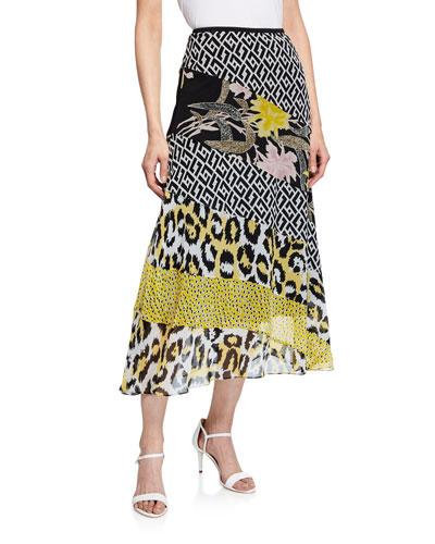 Darcie Mixed-Print Silk Midi Skirt