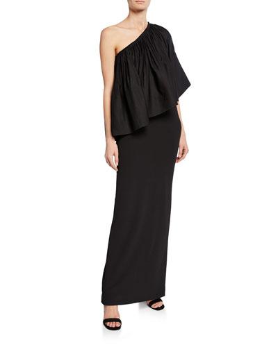 Lison Shirred One-Shoulder Cocktail Dress