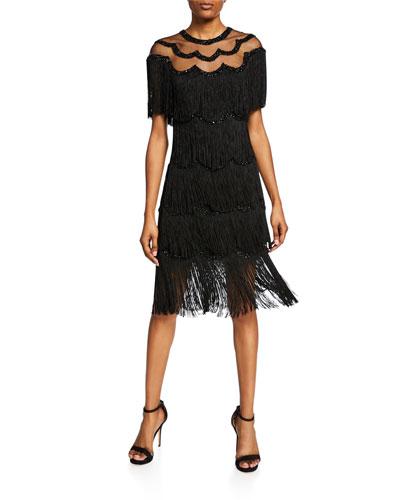 Beaded Fringe Dress w/ Sheer Yoke