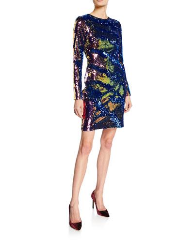 Long-Sleeve Sequin Mini Dress
