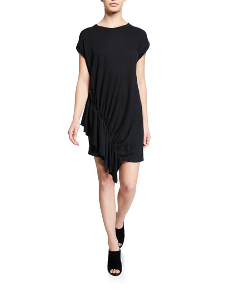 Current Elliott THE PACIFIC AVE RUCHED RUFFLE SHIRTDRESS