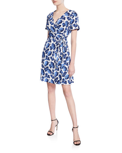 Savilla Floral-Print Surplice Mini Wrap Dress