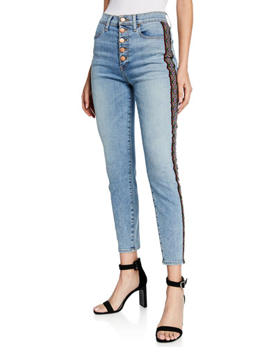 Good High-Rise Skinny Jeans w/ Embroidery