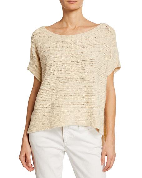 Eileen Fisher Knitwear PETITE TAPE-KNIT ORGANIC COTTON SWEATER