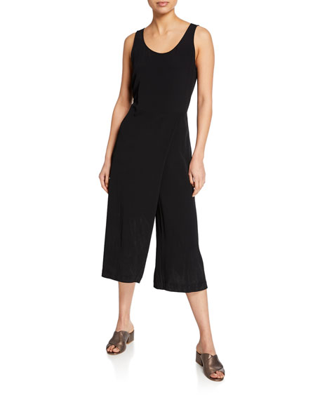 Eileen Fisher Suits PETITE SCOOP-NECK SLEEVELESS SKIRT-WRAP CROP JUMPSUIT