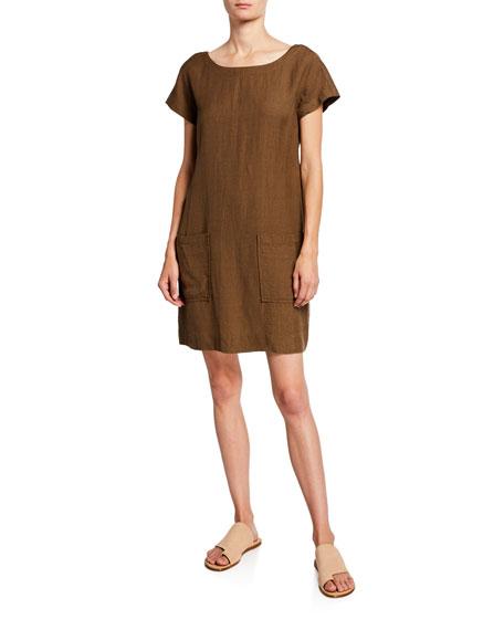 Eileen Fisher Petite Cap-Sleeve Crepe Shift Dress