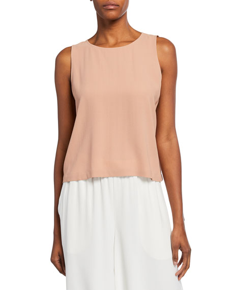 Eileen Fisher Tops PETITE SILK GEORGETTE ROUND-NECK SHELL TOP