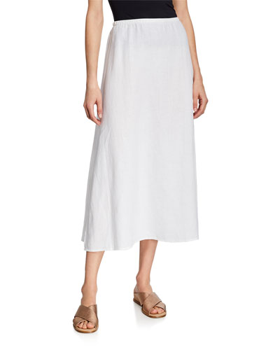 Petite Organic Linen A-Line Side-Slit Midi Skirt