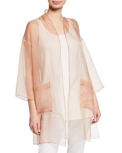 Plus Size Washed Silk Organza Kimono