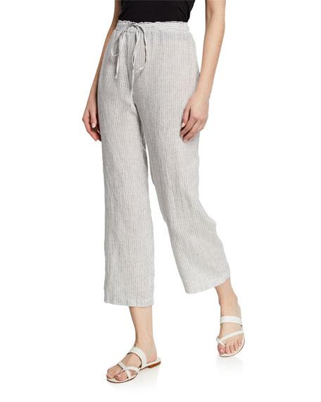Eileen Fisher Pants MINI-STRIPE DRAWSTRING STRAIGHT-LEG ORGANIC LINEN CROP PANTS