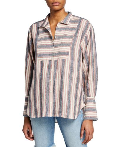 Clean Collared Linen Bib Shirt