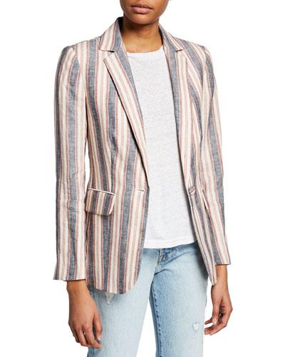 Striped Linen Single-Button Blazer