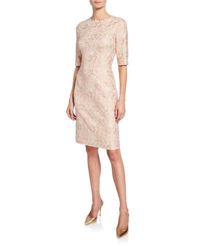 Short-Sleeve Metallic Jacquard Sheath Dress