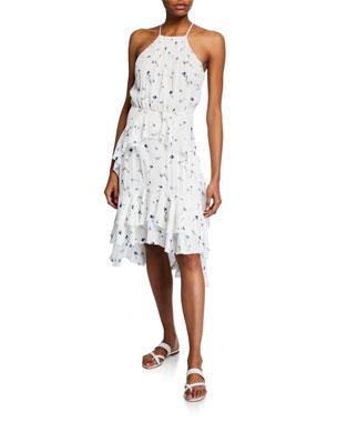 1d3c37dcfe Joie Lamberta Halter Floral Ruffle High-Low Dress
