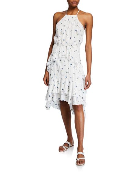 Joie Dresses LAMBERTA HALTER FLORAL RUFFLE HIGH-LOW DRESS