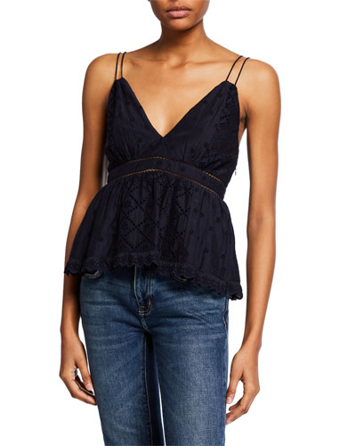 Chani Double-Strap Eyelet Embroidered Top